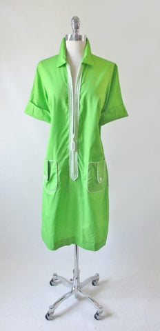 Vintage 60's Bright Green MOD Shift Dress L