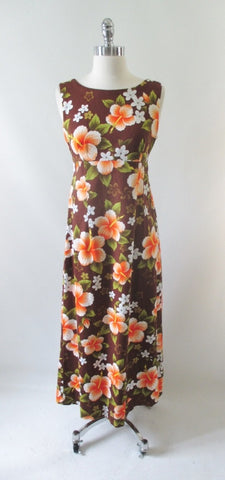 Vintage 60s Hibiscus Flower Hawaiian Empire Maxi Dress M