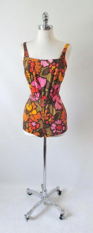 Vintage 60's Bright Floral Flower Playsuit Swimsuit Romper Shorts Sunsuit XS