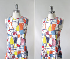 Vintage 60s Abstract Colorblock Skorts Romper Playsuit M / L - Bombshell Bettys Vintage