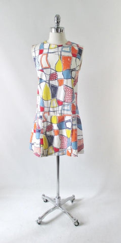 Vintage 60s Abstract Colorblock Skorts Romper Playsuit M / L