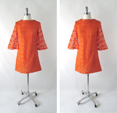 vintage 60's orange bell sleeve sheer lace mini A line mod party dress bombshell bettys vintage full