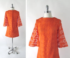vintage 60's orange bell sleeve sheer lace mini A line mod party dress bombshell bettys vintage back