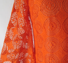 vintage 60's orange bell sleeve sheer lace mini A line mod party dress bombshell bettys vintage fabric