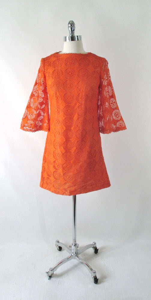 Vintage 60's Orange Mod Lace Bell Sleeve Mini Dress S - Bombshell Bettys Vintage