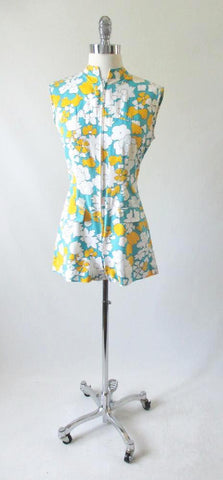 Vintage 60's MOD White & Yellow Flower One Piece Playsuit Shorts Romper S