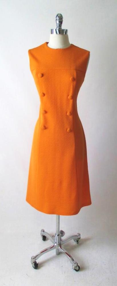 vintage 60's MOD a line orange button front carol brent day dress bombshell bettys vintage