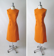 vintage 60's MOD a line orange button front carol brent day dress