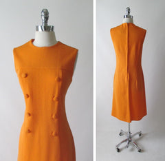 vintage 60's MOD a line orange button front carol brent day dress bodice