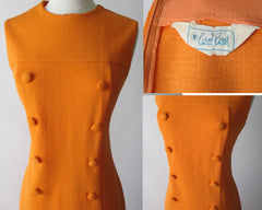vintage 60's MOD a line orange button front carol brent day dress buttons