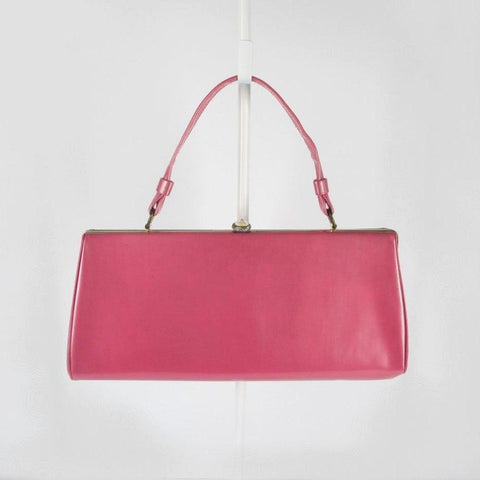 Vintage 60's Glossy Patent Pink Clutch Purse Handbag