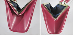 Vintage 60's Glossy Patent Pink Clutch Purse Handbag - Bombshell Bettys Vintage