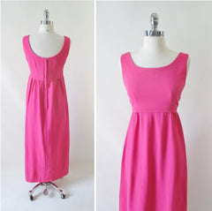 vintage 60's pink maxi dress special occasion bridal party bridesmaid gown bombshell bettys vintage back