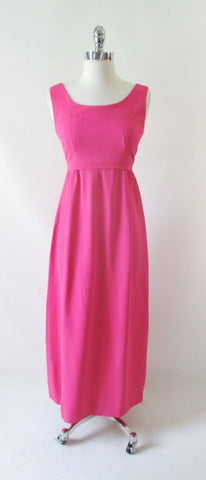 Vintage 60's Hot Pink Formal Maxi Dress S