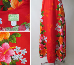 vintage 60's red Hawaiiian maxi flower pink orange tiki luau dress tag / skirt