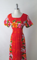 vintage 60's red Hawaiiian maxi flower pink orange tiki luau dress bodice