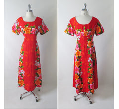 vintage 60's red Hawaiiian maxi flower pink orange tiki luau dress full