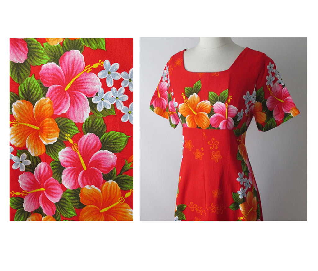 e1c0368a341f vintage 60's red Hawaiiian maxi flower pink orange tiki luau dress pattern