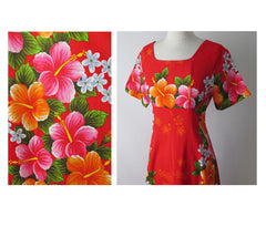 vintage 60's red Hawaiiian maxi flower pink orange tiki luau dress pattern
