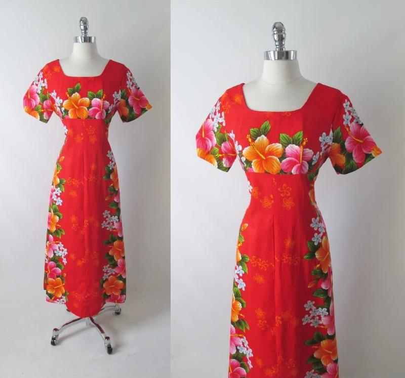 00997c5e49d4 Vintage 60's Red Hawaiian Pink Orange Flower Barkcloth Maxi Dress M ...