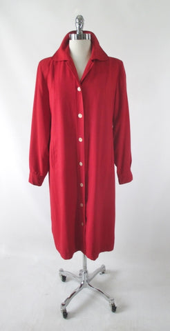 Vintage 60s Red Linen Car Coat Jacket