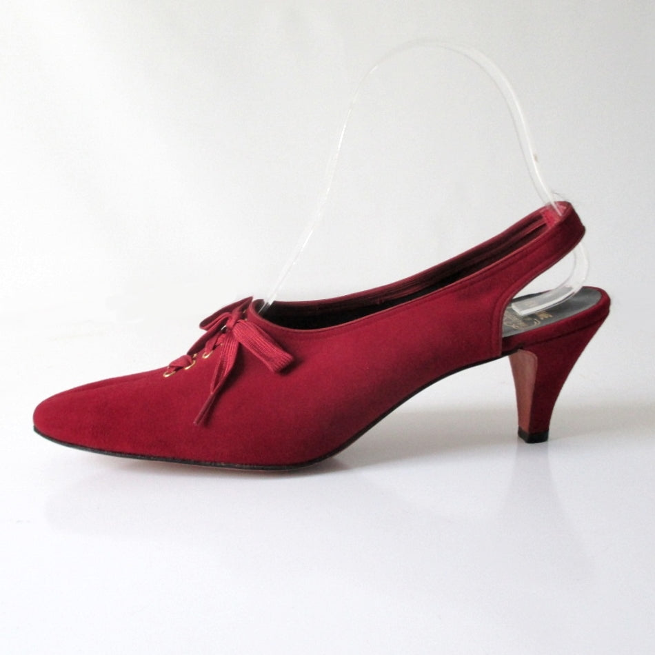 Vintage 60's Deep Red Lace Up Slingback Heels 7.5 - Bombshell Bettys Vintage
