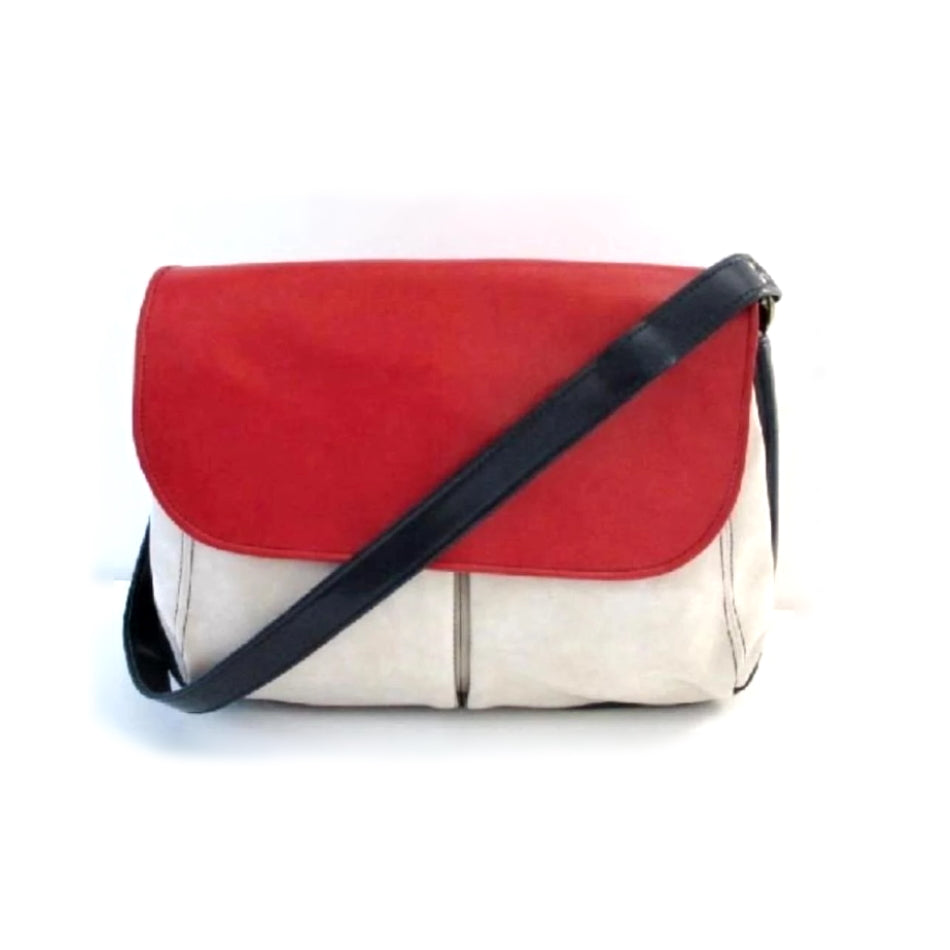 • Vintage 60's MOD Vinyl Red White Blue Color Block Book Tote Messinger Bag Purse - Bombshell Bettys Vintage