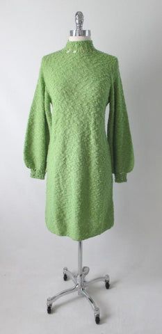 Vintage 60's St John Knits Bishop Sleeve Green Shift Knit Sweater Dress M