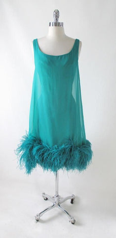 Vintage 60's Teal Chiffon Ostrich Feather Party Dress