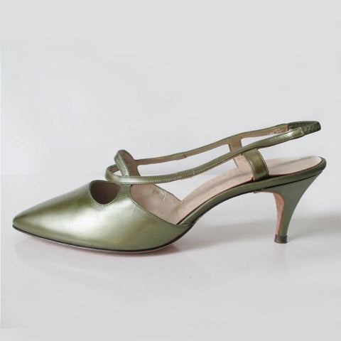 Vintage 60's Pearl Green Leather Slingback Heels Shoes 8.5