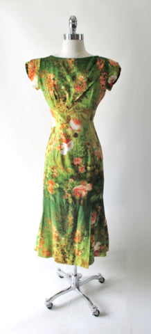 Vintage 60's Elsie Krassas Fluted Hem Hawaiian Dress M