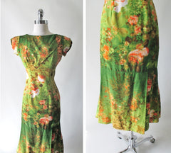 Vintage 60's Elsie Krassas Fluted Hem Hawaiian Dress M - Bombshell Bettys Vintage