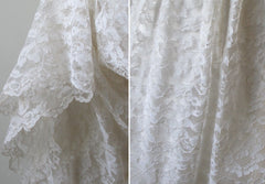 Vintage 60's White Lace Full Length Wedding Dress Gown - Bombshell Bettys Vintage
