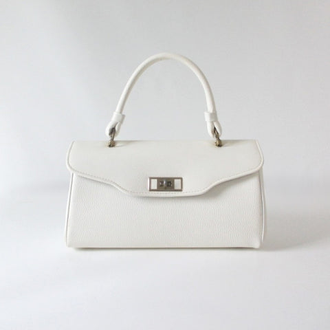 Vintage 60's White Top Handle Handbag Bag