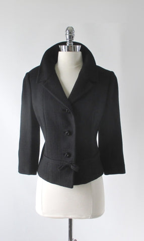 Vintage 60s Black Bow Accent Jacket / Blazer M