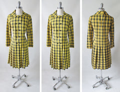 vintage 60's yellow black tartan plaid dropped waist double breasted pleated schoolgirl dress bombshell bettys vintage