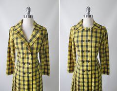 vintage 60's yellow black tartan plaid dropped waist double breasted pleated schoolgirl dress bombshell bettys vintage bodice