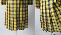 Vintage 60's Yellow Tartan Plaid Day Dress M - Bombshell Bettys Vintage