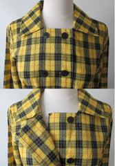 vintage 60's yellow black tartan plaid dropped waist double breasted pleated schoolgirl dress bombshell bettys vintage collar