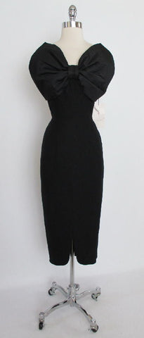 Vintage 1960's / 50's Bombshell Pines Black Wool Wiggle Cocktail Dress Blackwell Bow S