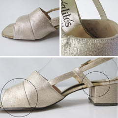 Vintage 60s Gold Lamé Wide Heel Party Shoes 8 - Bombshell Bettys Vintage