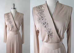 Vintage 70s 40s Revival Embroidered Floral Dress S - Bombshell Bettys Vintage