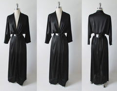 Vintage 80's Inky Black Silky Evening Gown Dress L - Bombshell Bettys Vintage