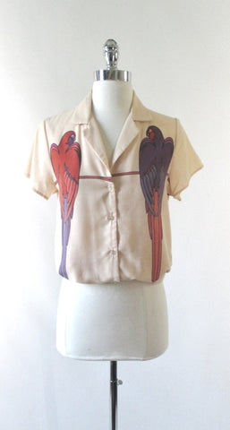Vintage 70's Macaw Parrot Graphic Button up shirt Blouse / Top