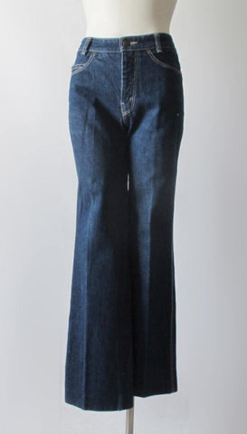 Vintage 70's Yves Saint Laurent YSL High Waist Indigo Denim Jeans S