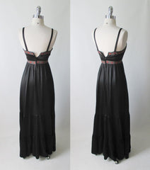 vintage 70's 80's black satin gunne sax corset prarie dress full length gown back