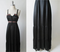 vintage 70's 80's black satin gunne sax corset prarie dress full length gown skirt