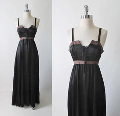 vintage 70's 80's black satin gunne sax corset prarie dress full length gown full