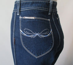 Vintage 70s Blue White Stitch Pocket Jordache Blue Jeans S - Bombshell Bettys Vintage