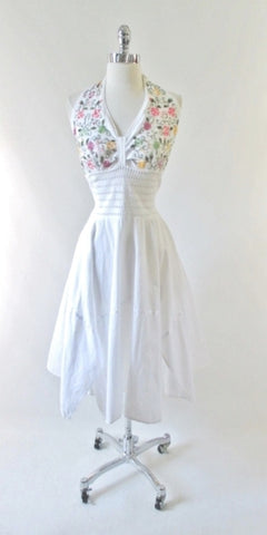 Vintage 70's White Embroidered Gypsy Halter Dress L